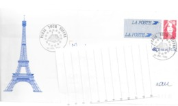 ENVELOPPE PAP ILLUSTREE PARIS TOUR EFFEL OBLITEREE 1996 - Prêts-à-poster: Other (1995-...)