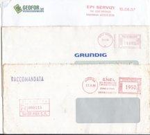 ITALIA LOTTO 8 N° 3 AFFRANCATURE ROSSE ENEL GRUNDIG E GEOFOR - Poststempel - Freistempel