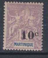 Martinique N° 53 X Type Col. Françaises Surchargé : 10 C. Sur 5 F. Lilas Trace De Charnière Sinon TB - Martinique (1886-1947)