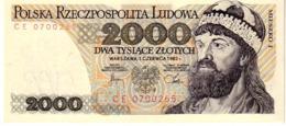 Poland P.147c 2000 Zlotych 1982  Unc - Polonia
