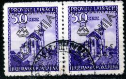 Yugoslavia,1945,ovrprint Ljubljana Cancell Horisontal Paar,as Scan - Gebraucht