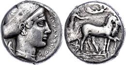 Syrakus, Tetradrachme (17,10g), Ca. 430 V. Chr. Av: Biga Nach Rechts, Darüber Schwebende Nike Nach Rechts. Rev: Kopf Der - Antike