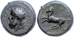 Syrakus, Æ (20,11g), 245-317 V. Chr.. Av: Belorbeerter Zeuskopf Nach Links. Rev: Pferd Steigt Nach Links. SNG Cop. 725,  - Antike