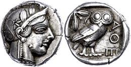 Athen, Tetradrachme (17,20g), 449-404 V. Chr. Av. Athenakopf Mit Attischem Helm Geschmückt Mit Drei Olivenblätter Und Pa - Antike