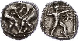 Aspendos, Stater (10,85g), Ca. 4./3. Jhd V. Chr. Av: Zwei Ringer. Rev: Schleuderer Nach Rechts, Rechts Triskele, Links S - Antike