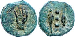 Anonym, Quadrans (82,58g), 280-276 V. Chr., Rom. Av: Zwei Ähren, Dazwischen Drei Kugeln. Rev: Hand Nach Links, Darunter  - 1. Röm. Republik (-280 / -27)