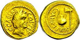 """C. Iulius Caesar Und A. Hirtius, 46 V.Chr., Aureus (8,08g), Rom. Av: Kopf Der Pietas Nach Rechts, Darum """"C CAESAR COS TE - 1. Röm. Republik (-280 / -27)"""