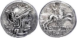 Q. Marcius Philippus, Denar (3,93g), 129 V. Chr., Rom. Av: Romakopf Mit Flügelhelm Nach Rechts, Dahinter Wertzeichen. Re - Römische Münzen