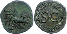 """Tiberius, 14-37, Sesterz (26,64g), Rom. Av: Leere Triumphquadriga Nach Rechts. Rev: S C, Darum """"TI CAESAR DIVI AVG F AVG - Römische Münzen"""