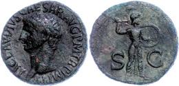 """Claudius, 41-54, As (11,10g). Av: Kopf Nach Links, Darum Umschrift. Rev: Minerva Propugnatix Zwischen """"S C"""" Nach Rechts. - Römische Münzen"""