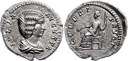 Julia Domna, Augusta, 193-217, Denar (3,28g), Rom. Av: Büste Nach Rechts, Darum Umschrift. Rev: Thronende Ceres Nach Lin - Römische Münzen