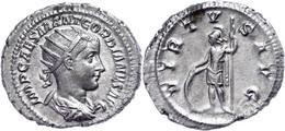 Gordianus III., 238-244, Antoninian (4,13g). Av: Büste Nach Rechts, Darum Umschrift. Rev: Stehender Virtus Mit Helm, Sch - Römische Münzen