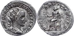 Gordianus III., 238-244, Antoninian (4,23g). Av: Büste Nach Rechts, Darum Umschrift. Rev: Thronender Apollo Nach Links,  - Römische Münzen