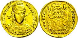 Constantius II., 337-361, Solidus (4,33g), Antiochia. Av: Büste Mit Helm, Schild Und Speer Vorn, Darum Umschrift. Rev: R - Römische Münzen
