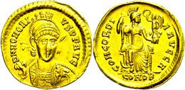 Honorius, 393-423, Solidus (4,39g), Konstantinopel. Av: Büste Mit Schild Und Speer In Dreiviertelansicht, Darum Umschrif - Römische Münzen