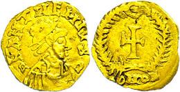 """Anthemius, 467-472, Imitation Eines Tremissis (1,13g). Av: Büste Nach Rechts, Darum """"D N ANTHEMIVS C"""". Rev: Kreuz Im Kra - Römische Münzen"""