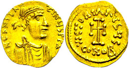 Constans II., 641-688, Tremissis (1,44g), Konstantinopel. Av: Büste Nach Rechts, Darum Umschrift. Rev: Kreuz, Darum Umsc - Bizantine