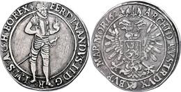 Taler, 1624, Ferdinand II., Prag, Dav. 3136, Felder Teilweise Bearbeitet, Ss.  Ss - Austria
