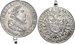 Taler, 1633, Ferdinand II., Kremnitz, Dav. 3129, Mit Altem Henkel, Randfehler, Vz.  Vz - Austria