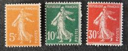 FRANCE - 1921 -semeuse Fond Plein - YT 158 à 160 * - 1906-38 Sower - Cameo
