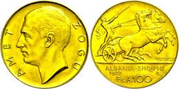 100 Franken, Gold, 1927, Zogu I., Variante Ohne Stern Unter Dem Kopf, Fb. 1, Vz-st.  Vz-st - Albania