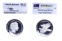 1 Dollar, 2014, Wedge Tailed Eagle, In Slab Der PCGS Mit Der Bewertung Gem Proof, High Relief, Mercanti-Flag Label, Mit  - Non Classés
