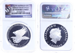 1 Dollar, 2015, Wedged Tailed Eagle, In Slab Der NGC Mit Der Bewertung PF70 Ultra Cameo, Flag Label. - Non Classés