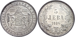 5 Lewa 1884,  Alexander I. 1879-1886, Kl. Rf., Vz, Katalog: KM 7 Vz - Bulgarien
