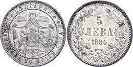 5 Lewa 1884,  Alexander I. 1879-1886, Vz, Katalog: KM 7 Vz - Bulgaria