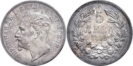 5 Lewa 1892 KB, Ferdinand I. 1887-1908,  Kl. Rf, Schöne Patina, Wz. Rf., Vz, Katalog: KM 15 Vz - Bulgarien