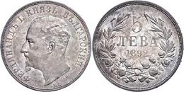 5 Lewa 1892 KB, Ferdinand I. 1887-1908, Regenbogenpatina, Vz, Katalog: KM 15 Vz - Bulgarije