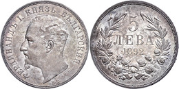 5 Lewa 1892 KB, Ferdinand I. 1887-1908, Regenbogenpatina, Vz, Katalog: KM 15 Vz - Bulgarien