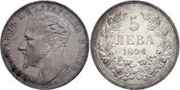 5 Lewa 1894 KB, Ferdinand I. 1887-1908,  Kl. Rf, Dunkle Patina, Vz, Katalog: KM 18 D - Bulgarien