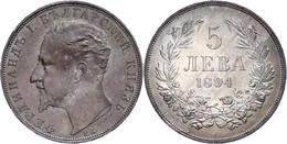 5 Lewa 1894 KB, Ferdinand I. 1887-1908, Patina, Kl. Kratzer Auf Revers, Vz., Katalog: KM 18 Vz - Bulgarien