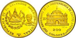 200 Colones, Gold, 1971, 150 Jahre Unabhängigkeit, Panchimalco Kirche, Fb. 6, Eingepunzte Nummer 1216, Fingerabdrücke, P - Münzen