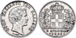 5 Drachmen, 1833, Otto, Dav. 115, Randfehler, Kl. Lackreste, Ss.  Ss - Grecia
