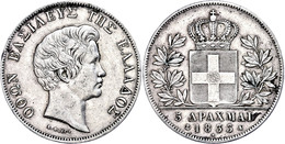 5 Drachmen, 1833, Otto, Dav. 115, Randfehler, Kl. Lackreste, Ss.  Ss - Griechenland