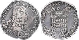 Scudo, 1655, Honoré II., Dav. 4307, Schrötlingsriss, Ss.  Ss - Monaco