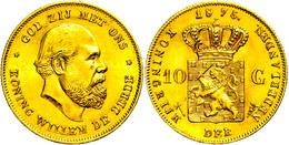 10 Gulden, Gold, 1875, Wilhelm III., Fb. 342, Vz.  Vz - Paesi Bassi