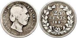25 Cent, 1887, Wilhelm III., Seltenes Jahr, Schulman 637, S.  S - Paesi Bassi