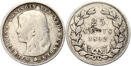 25 Cent, 1892, Wilhelmina, Schulman 847, S-ss.  S-ss - Paesi Bassi