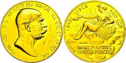 100 Kronen, Gold, 1908, Franz Josef I., 60jähriges Regierungsjubiläum, Fb. 514, Kleine Kratzer Und Randfehler, 2 Tiefe K - Austria