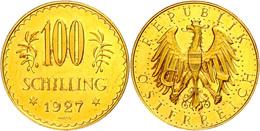 100 Schilling, Gold, 1927, Fb. 520, Kratzer, Vz.  Vz - Austria