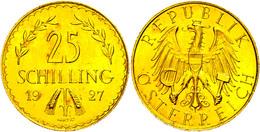 25 Schilling, Gold, 1927, Fb. 521, Kl. Kr., Vz-st.  Vz-st - Austria