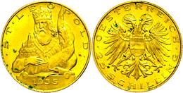 25 Schilling, Gold, 1935, Fb. 524, Grünspanflecken, Vz.  Vz - Austria