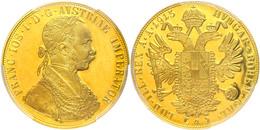 4 Dukaten, 1915, Franz Joseph I., Nachprägung, In Slab Der PCGS Mit Der Bewertung Cleaned-UNC Detail. - Austria