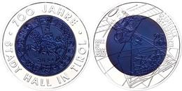 25 Euro 2003, Silber/Niob, 700 Jahre Stadt Hall In Tirol, Niob, In Kapsel Ohne Etui Und Zertifikat, Handgehoben, St.  St - Austria