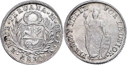 8 Reales, 1830, Jm Lima, KM 142.3, Leichte Prägeschwäche, Vz.  Vz - Peru