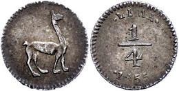 1/4 Real, 1834, Lima, KM 143.1, Vz.  Vz - Peru