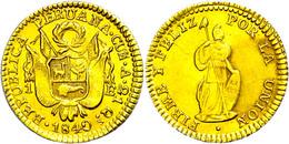 1 Escudo, Gold, 1840, Cuzco, KM 147.3, Fb. 67, Avers Berieben, Ss-vz.  Ss-vz - Peru